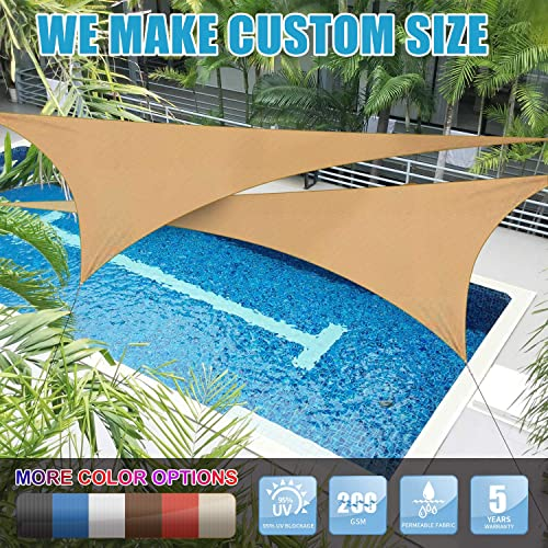 Amgo Custom Size Right Triangle 17 x 24 x 29.4 Sand Beige Triangle Sun Shade Sail ATAPT16 Canopy Awning, 95 UV Blockage, Water Air Permeable, Commercial and Residential We Customize