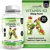Vitamin K2 200ug | 90 Time Release Pearls | Highest Potency |MK7 | Vegan | Made in the UK by Nutravita