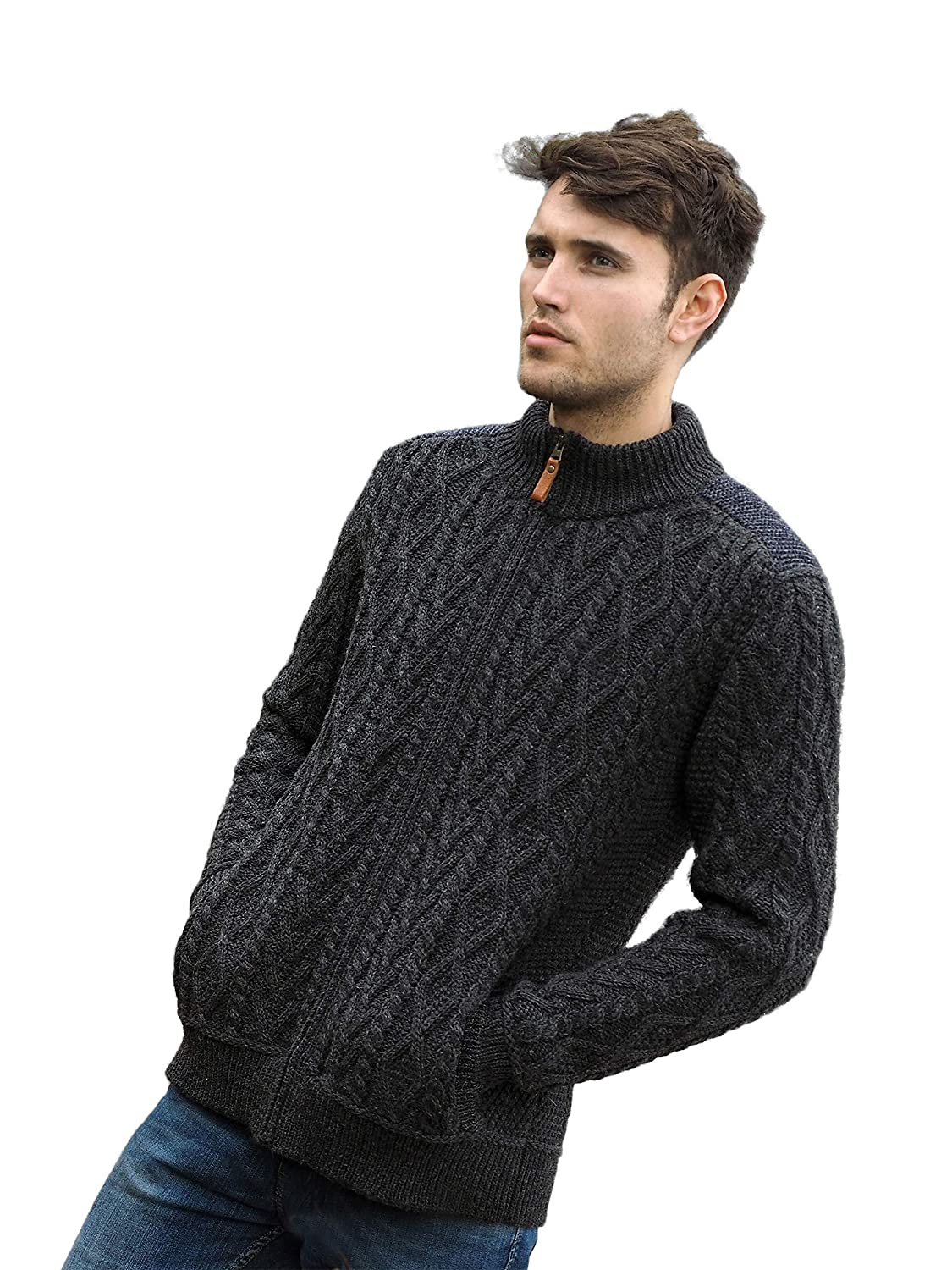 Merino Wool Irish Half Zip Aran Sweater