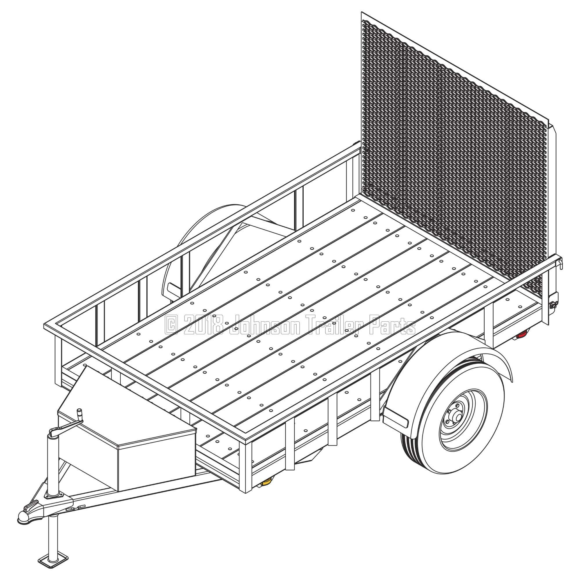 5′ x 8′ Utility Trailer Plans - 3,500 lb Capacity | Trailer Blueprints Model U60-96-35J by Johnson Trailer Parts