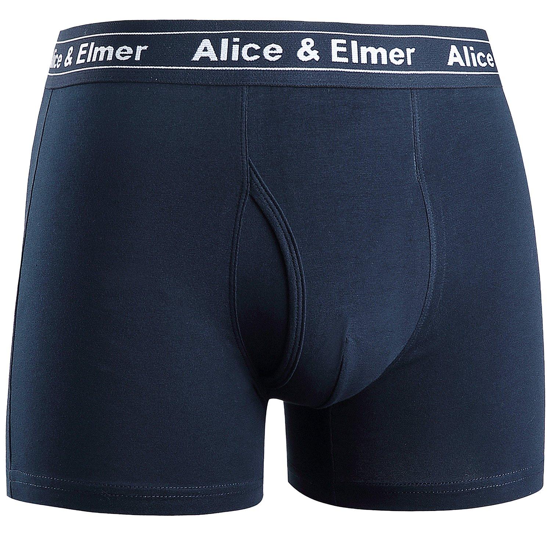 Alice /& Elmer Mens Underwear 4-6 Pack Soft Cotton Boxer Briefs Shorts Open Fly