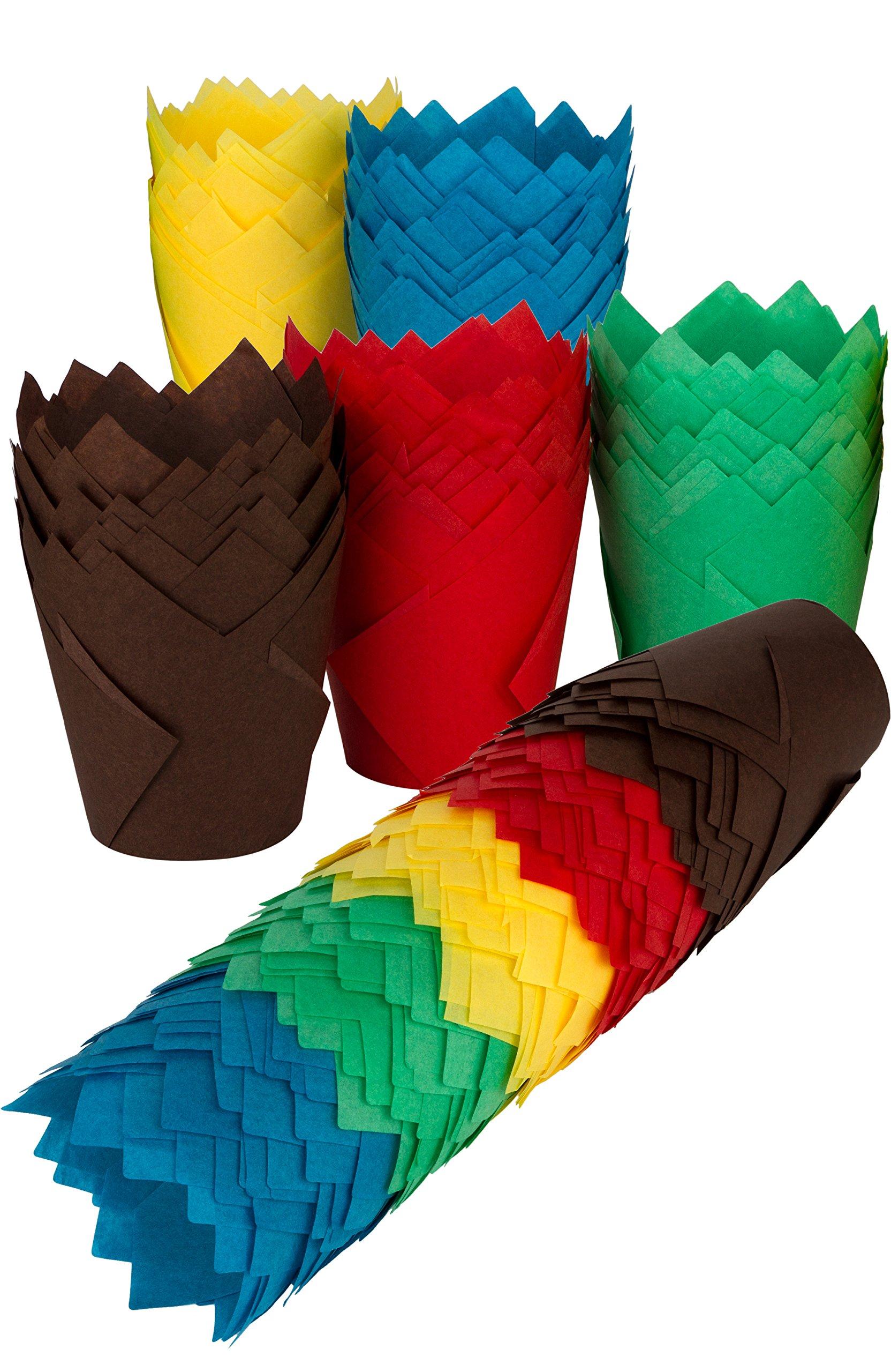 Tulip Cupcake Liners, 150 Multi Paper Baking Cups, Standard or Jumbo Muffin Pan by PETANI (3 x 2 in, Multi)