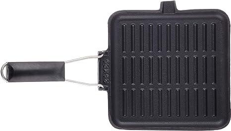 schwarz 21x35x3.5 cm Bialetti 0ltgr024/Gitter Gusseisen Induktion mit klappbarer Griff Stahl//Bakelit//Aluminium