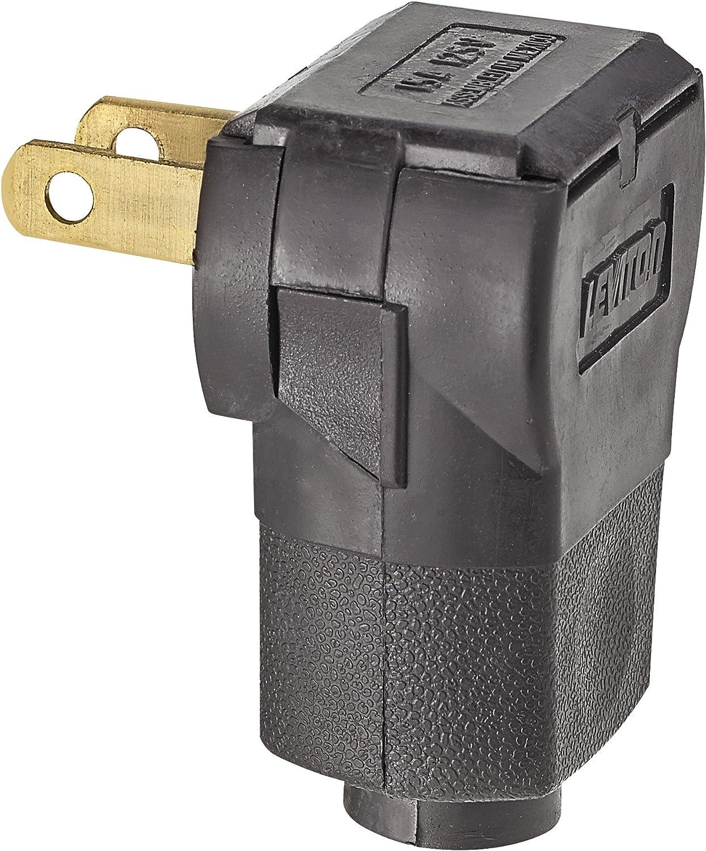 Leviton 15 Amp 125-Volt Non-Polarized Angle Plug Black