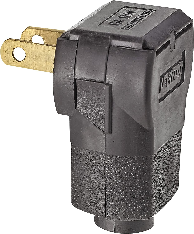 Leviton 101AN 15 Amp, 125 Volt 2-Pole 2-Wire, Non-Polarized Angle Plug, Brown