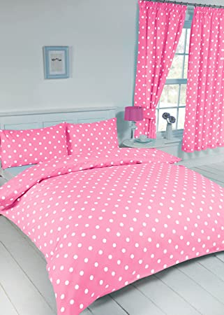 Double bed polka dot pink white duvet quilt cover bedding set by my home modern spot dot design amazon co uk kitchen home