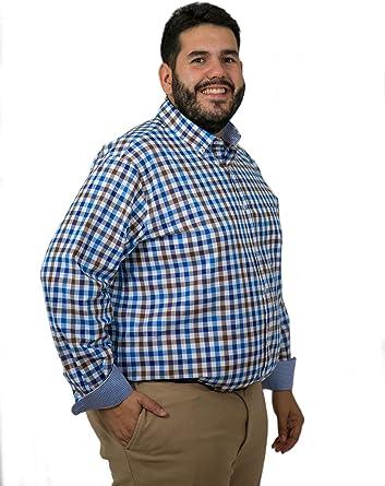 Camisas Hombre Tallas Grandes de Cuadros Manga Larga, Varios Modelos y Tallas, Camisas de algodón, 21H