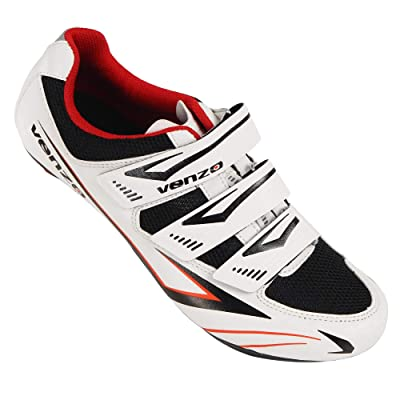 Venzo Bicycle Men's or Women's Road Cycling Riding Shoes - 3 Velcro Straps - Compatible with Peloton Shimano SPD & Look ARC Delta - Perfect for Indoor Spin Road Racing Bikes White: Sports & Outdoors