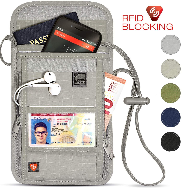 61c0de667c7e Lewis N. Clark RFID Blocking Stash Neck Wallet, Travel Pouch + Passport  Holder for Women & Men, Taupe