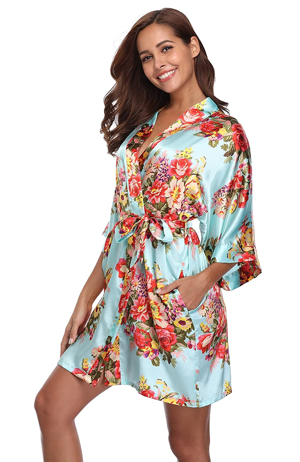 Light bluee MASELEY Women's Floral Satin Kimono Short Style Bridesmaids Robes with Pockets for Wedding Party