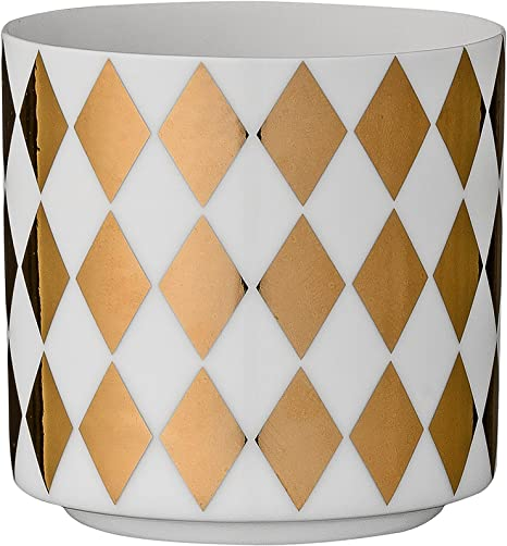 Bloomingville White Ceramic Tealight Holder With Gold Harlequin Pattern Home Kitchen