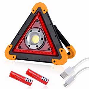 OTYTY 30W 2000LM COB LED Work Light, Rechargeable Portable Waterproof LED Flood Lights for Outdoor Camping Hiking Emergency Car Repairing, Job Site Lighting and Roadside Assistance (W837 Yellow)