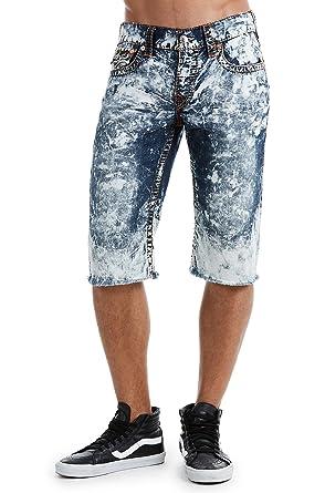 9f2275555f True Religion Men's Straight Denim Big T Cut-Off Shorts w/Flaps in Electro