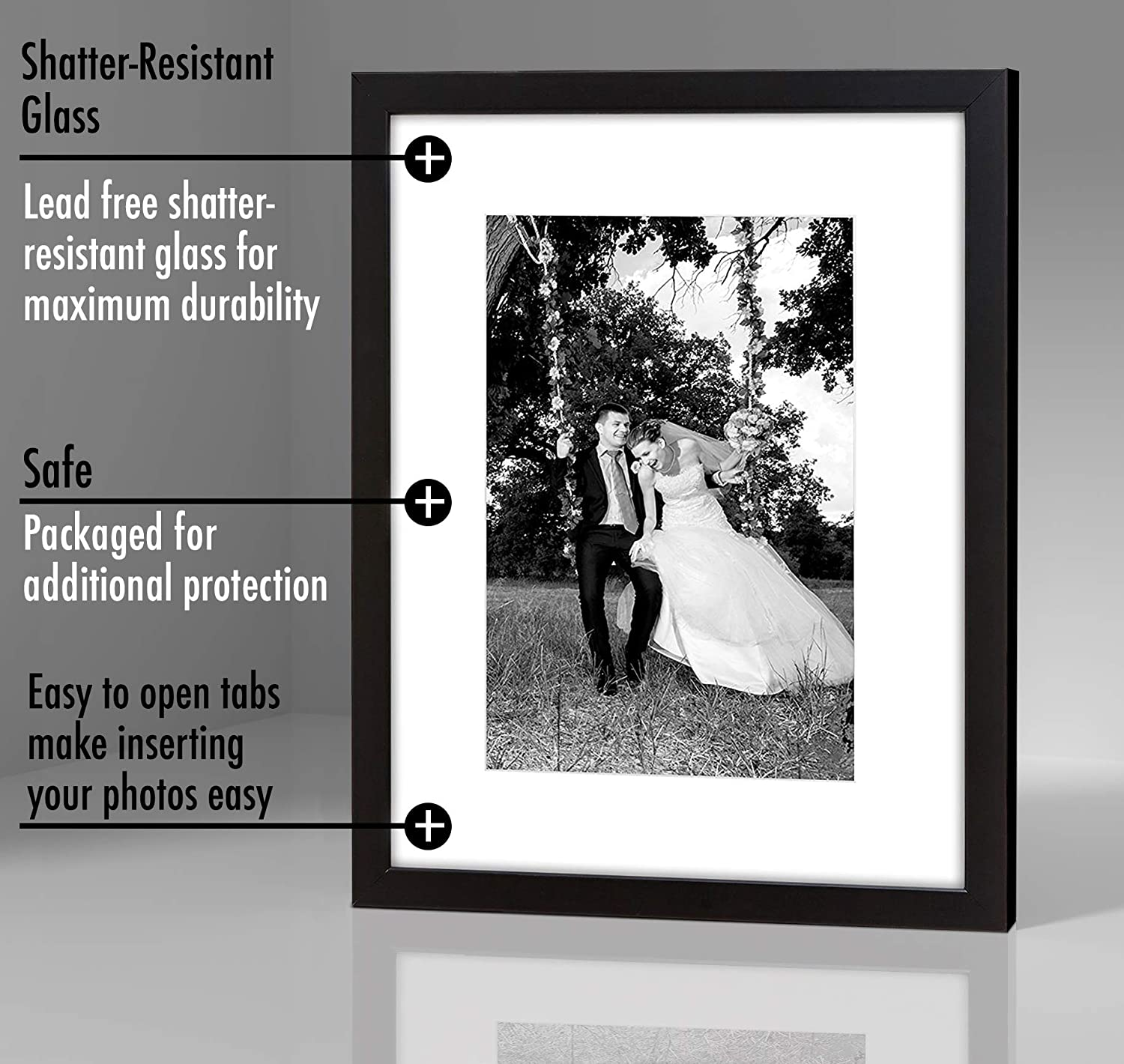 Set of 6-12x16 Black Hardwood Picture Frame with Glass