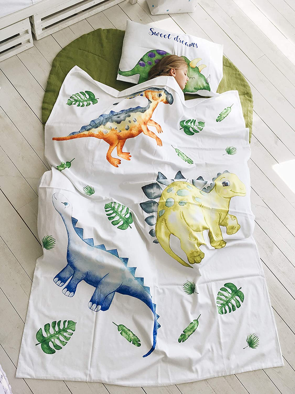 Image of Dinosaur duvet cover and pillow case for twin bedding