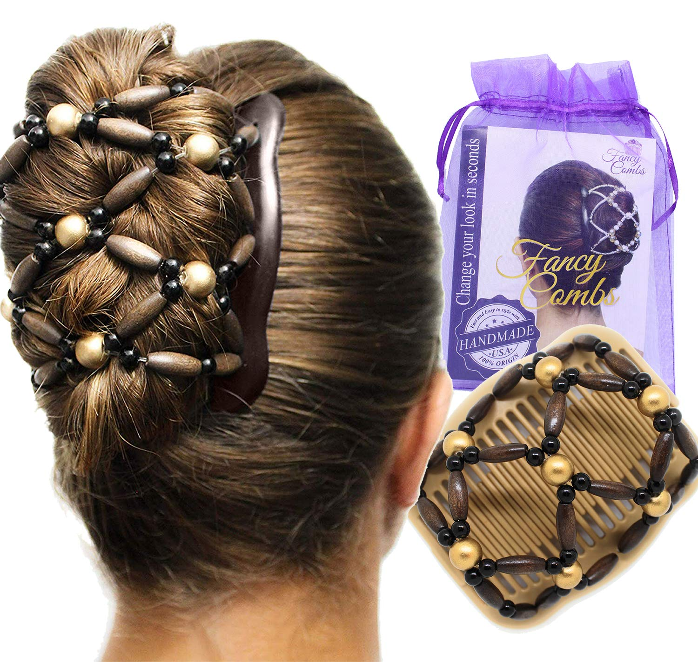 Wooden Beads Magic Double Hair Comb Clip Elastic Bun Maker Hair Styling Tool