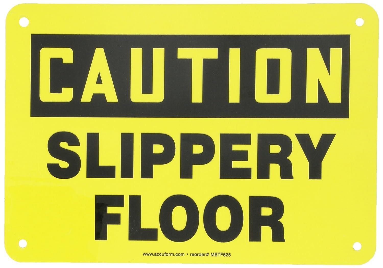 ANSI Aluminum METAL Sign 10 in x 7 in Slippery Floor Caution OSHA