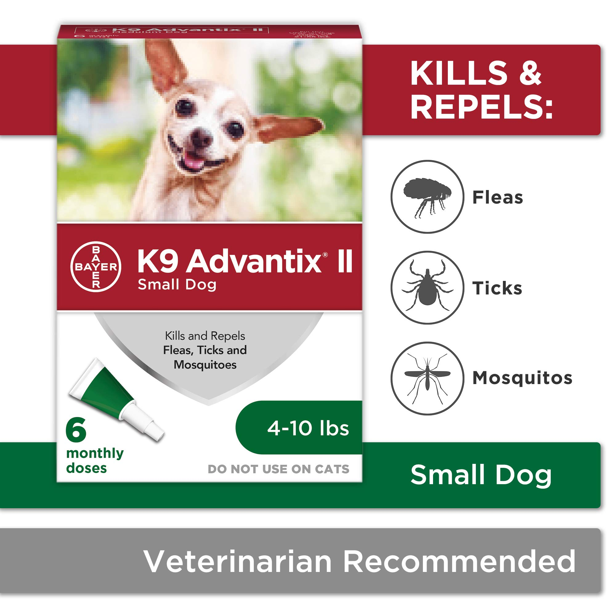 Flea and tick prevention for dogs, dog flea and tick treatment, 6 doses for dogs 4-10 lbs, K9 Advantix II by Bayer Animal Health