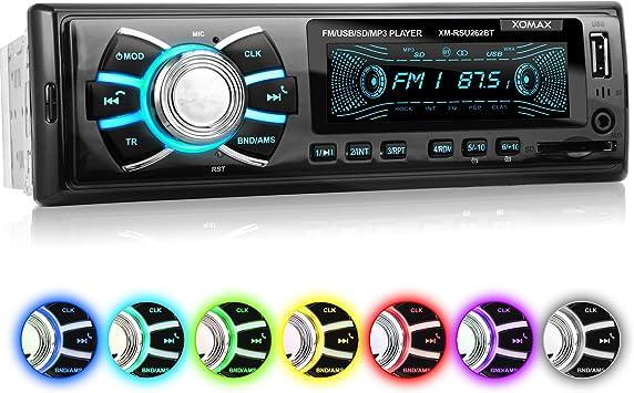FM I USB AUX I 7 Couleurs d/éclairage r/églables I 2 DIN XOMAX XM-2R422 Autoradio avec Bluetooth I RDS I AM