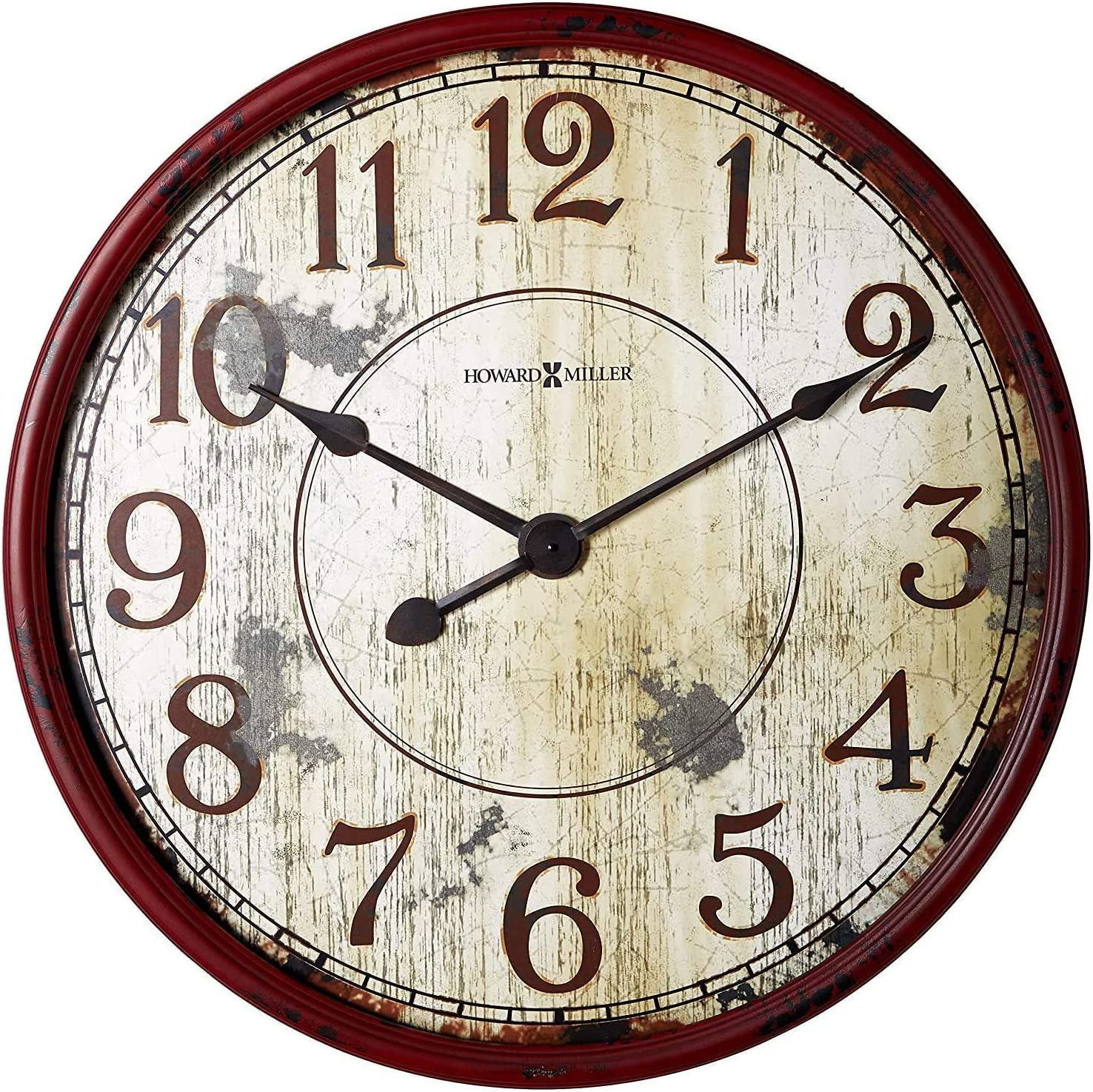 """Howard Miller Back 40 Wall Clock 625-598 – 32"""" Antique Red Distressed Decor with Quartz Movement"""
