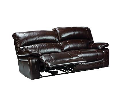 Ashley Furniture Signature Design   Damacio Recliner Sofa   Power Reclining    Dark Brown