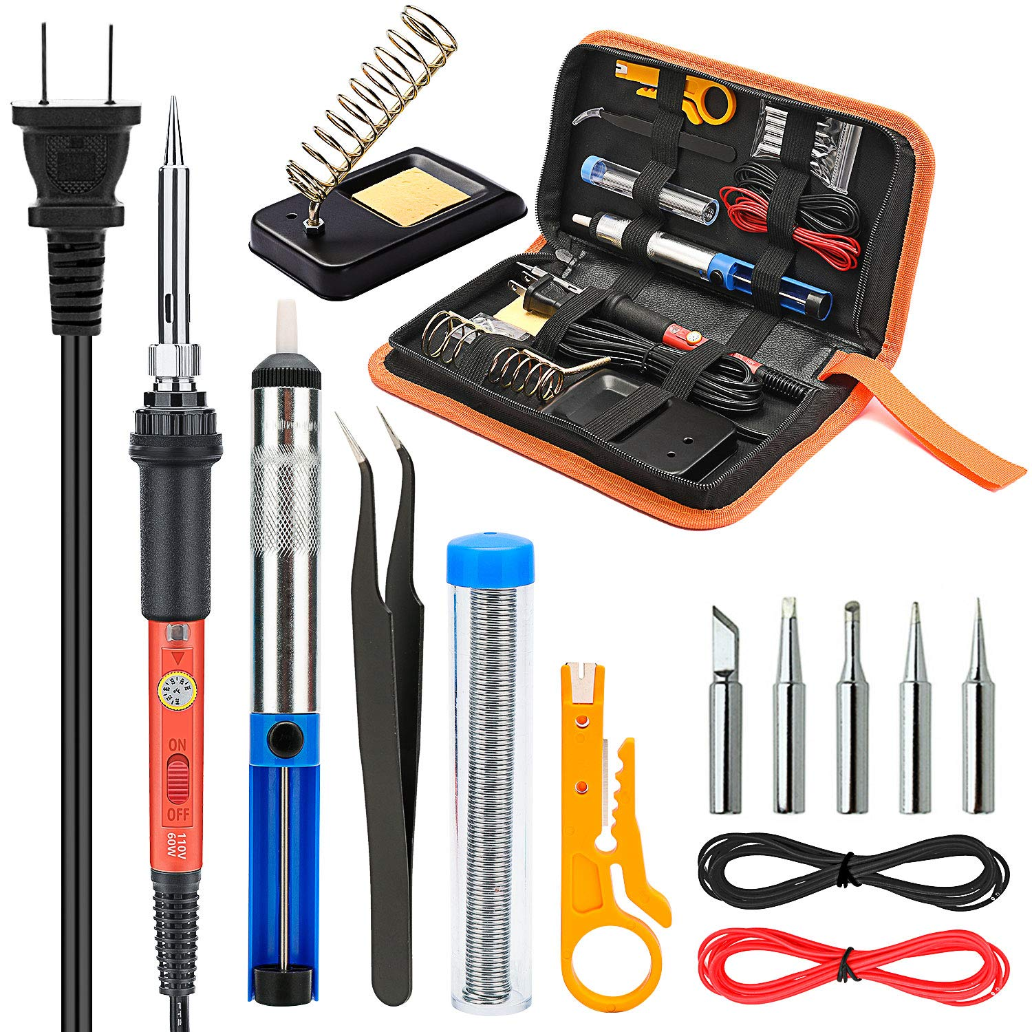 Soldering Iron Kit Electronics, Yome 14-in-1 60w Adjustable Temperature Soldering Iron with ON/OFF Switch, 5pcs Soldering Iron Tips, Desoldering Pump, Tweezers, Stand, Solder, PU Carry Bag by Yome