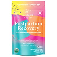 Pink Stork Postpartum Recovery Tea: Strawberry Passion Fruit, Postpartum Recovery Tea for After Baby, 100% Organic, Supports Labor & Delivery, Women-Owned, 30 Cups