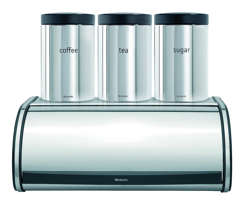 Brabantia - Panera con botes para té, café y azúcar, diseño de acero brillante 348266