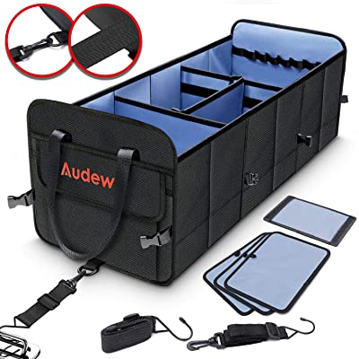 Audew Trunk Organizer, 3 Large Compartments Collapsible Car Truck Organizers with Tie Down Straps, 1680D Oxford Waterproof Non-Slip Bottom Storage Box for Car, Truck, SUV: Home Improvement