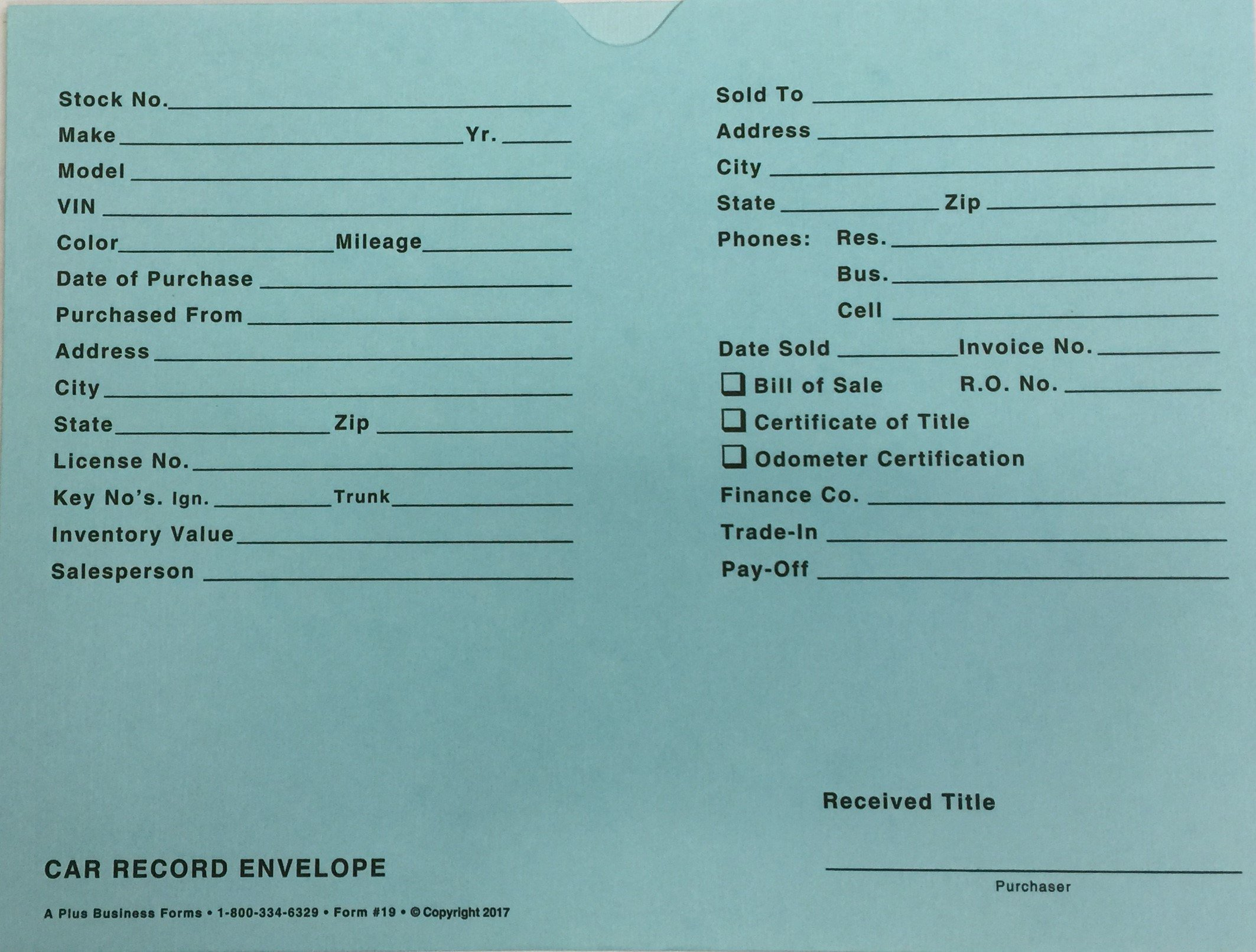 Car Record Envelope #19 Vehicle Deal Jackets by A+, 100 Quantity (Blue) (P8T)
