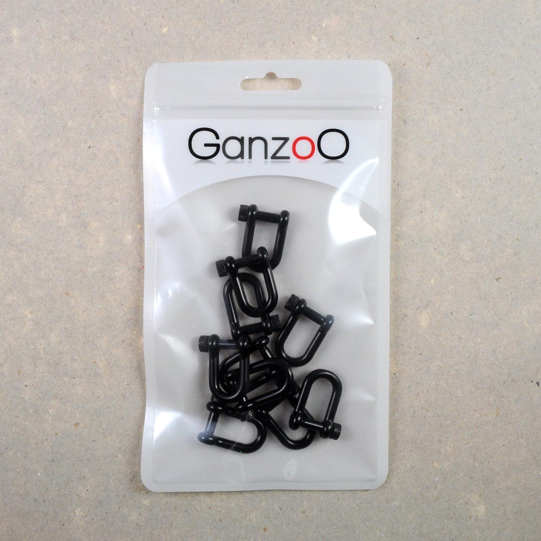 Marke Ganzoo f/ür Paracord Armb/änder Gr/ö/ße S 10er SET Sch/äkel aus Stahl Form mit hochwertigem Drehverschluss Kordeln etc. schwarz U 26mm x 20mm