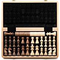 """A&A 15"""" Folding Wooden Chess & Checkers Set (2 in 1) w/ 3"""" King Height Chess Pieces / 2 Extra Queen / German Knight…"""