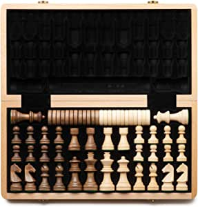 """A&A 15"""" Folding Wooden Chess & Checkers Set w/ 3"""" King Height German Knight Staunton Wooden Chess Pieces Extra 2 Queen - Classic 2 in 1 Board Games"""
