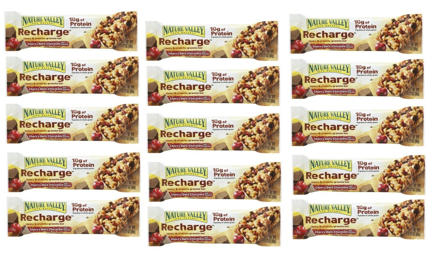 Nature Valley Energy Bar Cherry Dark Chocolate with Almonds: 15 Bars of 1.77 Oz - Tj