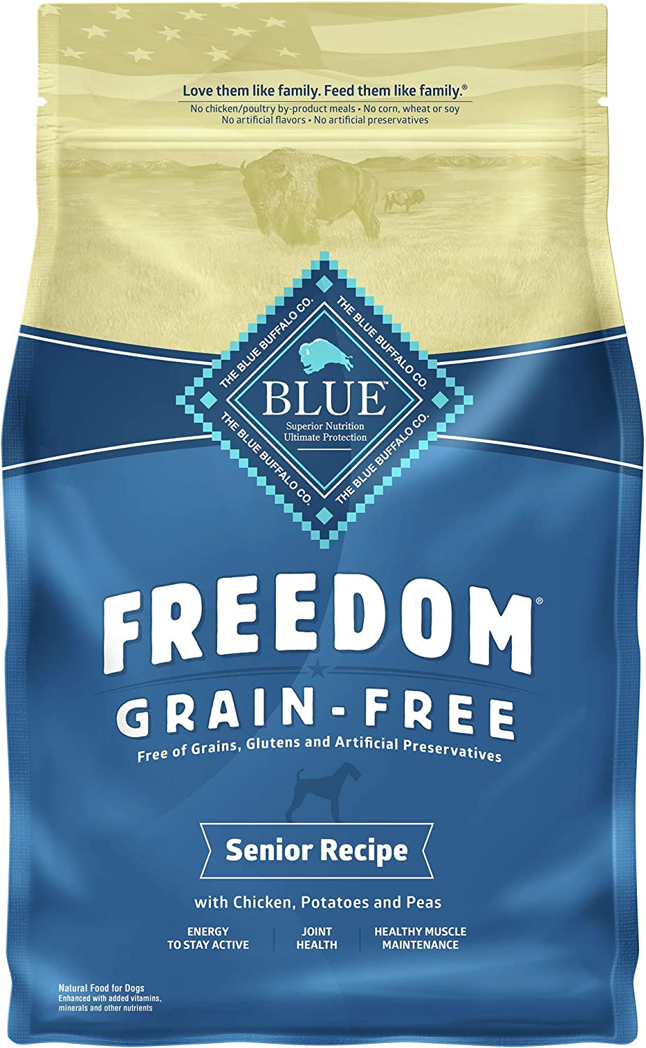Blue Buffalo Freedom Grain Free Natural Senior Dry Dog Food Chicken 4-lb