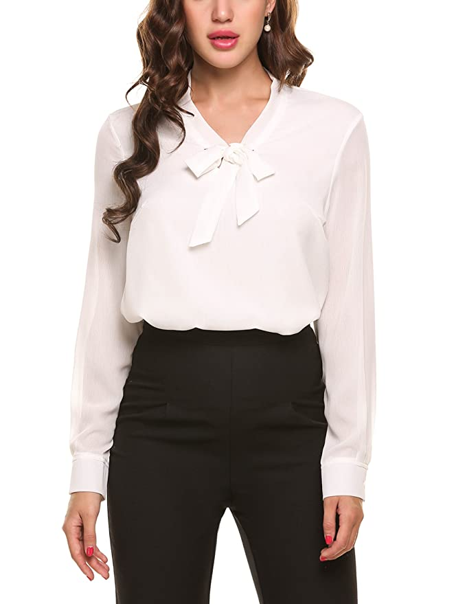1930s Style Blouses, Shirts, Tops | Vintage Blouses ACEVOG Womens Bow Tie Neck Long/Short Sleeve Casual Office Work Chiffon Blouse Shirts Tops $29.99 AT vintagedancer.com