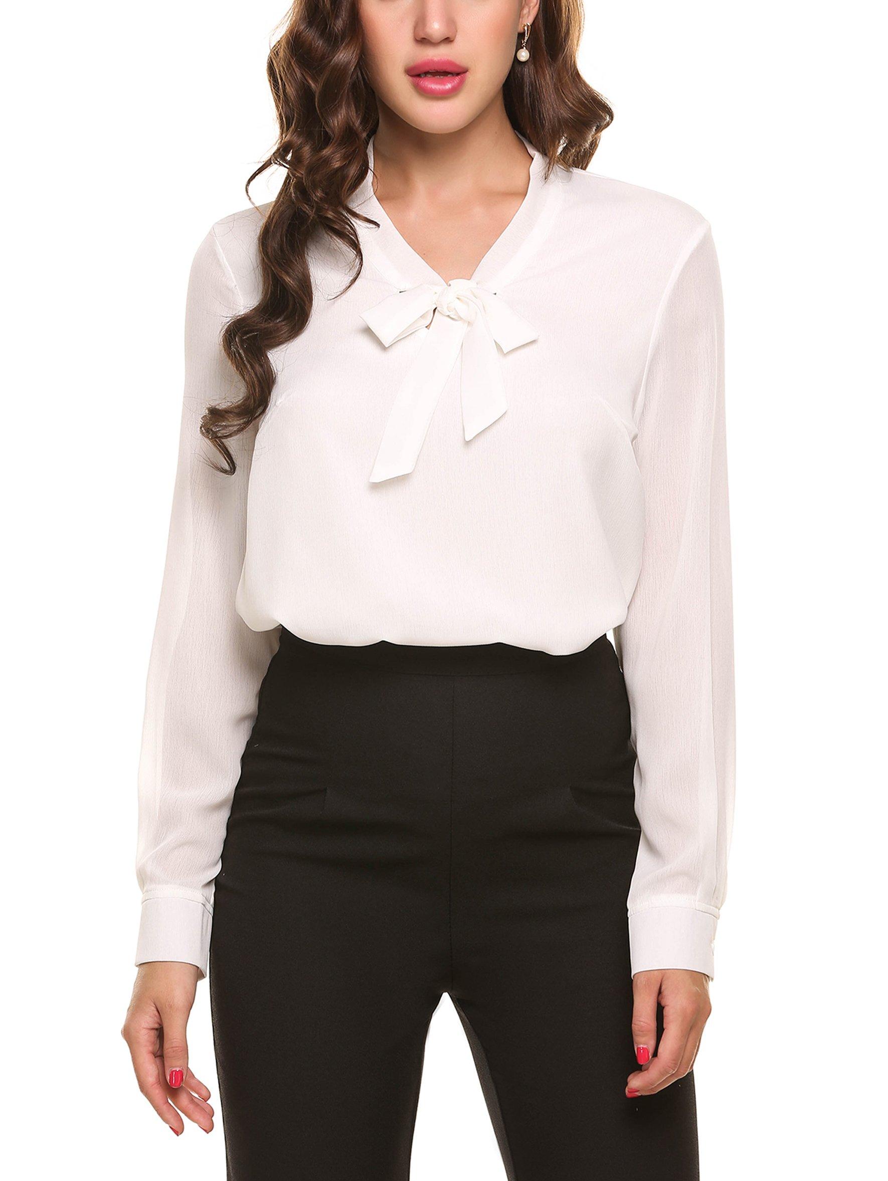ACEVOG Office Blouse Womens White Formal Shirt,White,Large