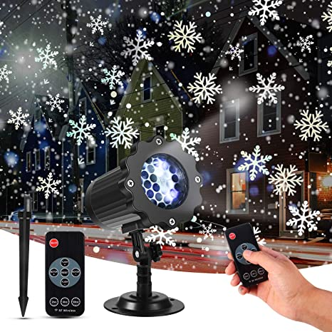 Remote Control Outdoor Christmas Lights.Christmas Projector Lights Kingwill Snowfall Led Lights Snowflake Rotating Projector Lights With Remote Control Waterproof Outdoor Christmas Lights