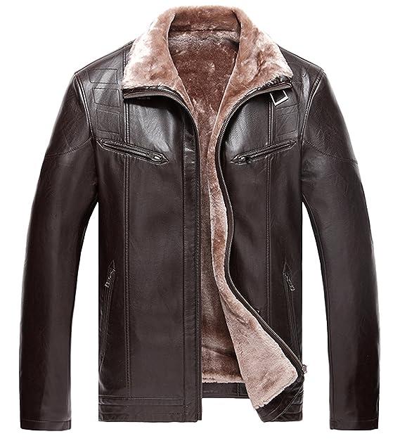 Amazon.com: Chaqueta de piel de estilo europeo para hombre ...