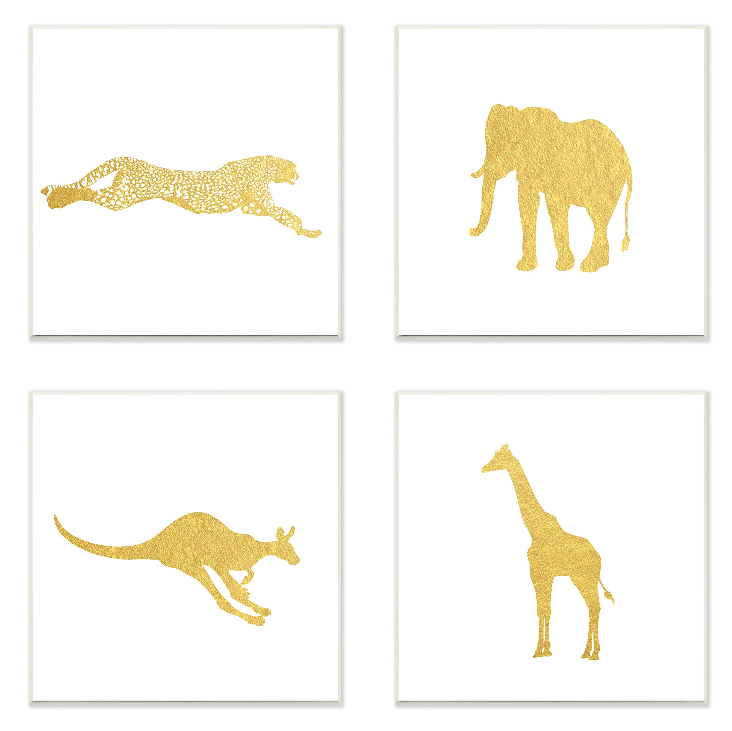 Stupell Home Décor Golden Animal Silhouettes Cheetah Elephant Kangaroo Giraffe 3pc Wall Plaque Art Set, 12 x 0.5 x 12, Proudly Made in USA by The Kids Room by Stupell