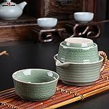 2en1 traditionnel service à thé asiatique, fait à la main à partir de céladon chinois