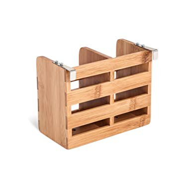Trademark Innovations Bamboo Flatware Organizer and Holder with Metal Clips