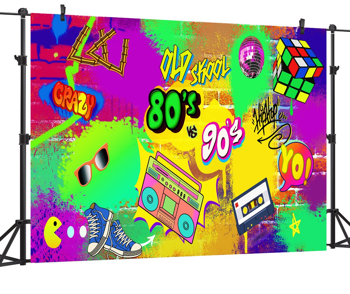 OUYIDA 9X6FT Seamless Hip Hop Graffiti Pictorial cloth photography Background Computer-Printed Vinyl Backdrop PCK07A