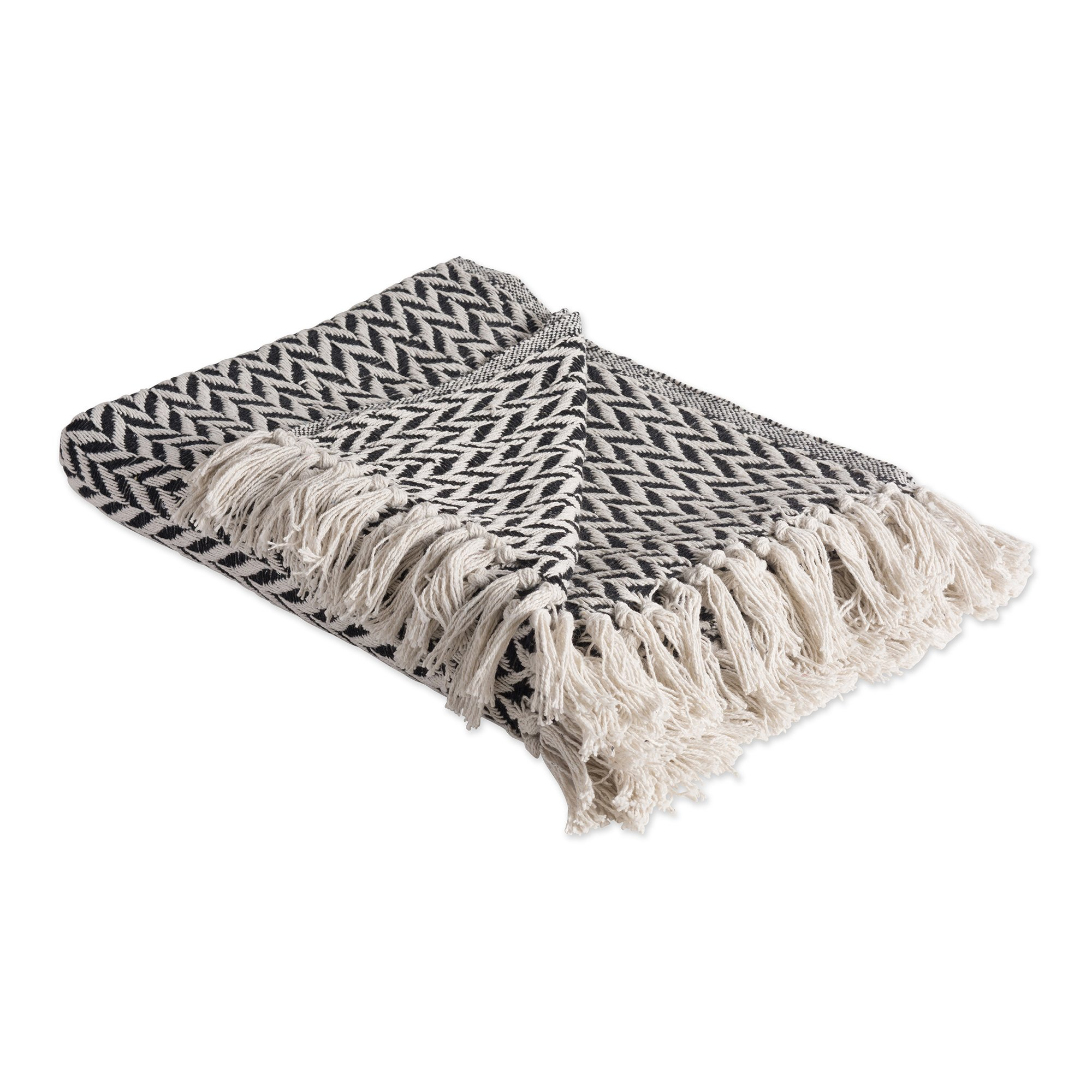 DII Rustic Farmhouse Cotton Zig-Zag Blanket Throw with Fringe For Chair, Couch, Picnic, Camping, Beach, & Everyday Use , 50 x 60'' - Black