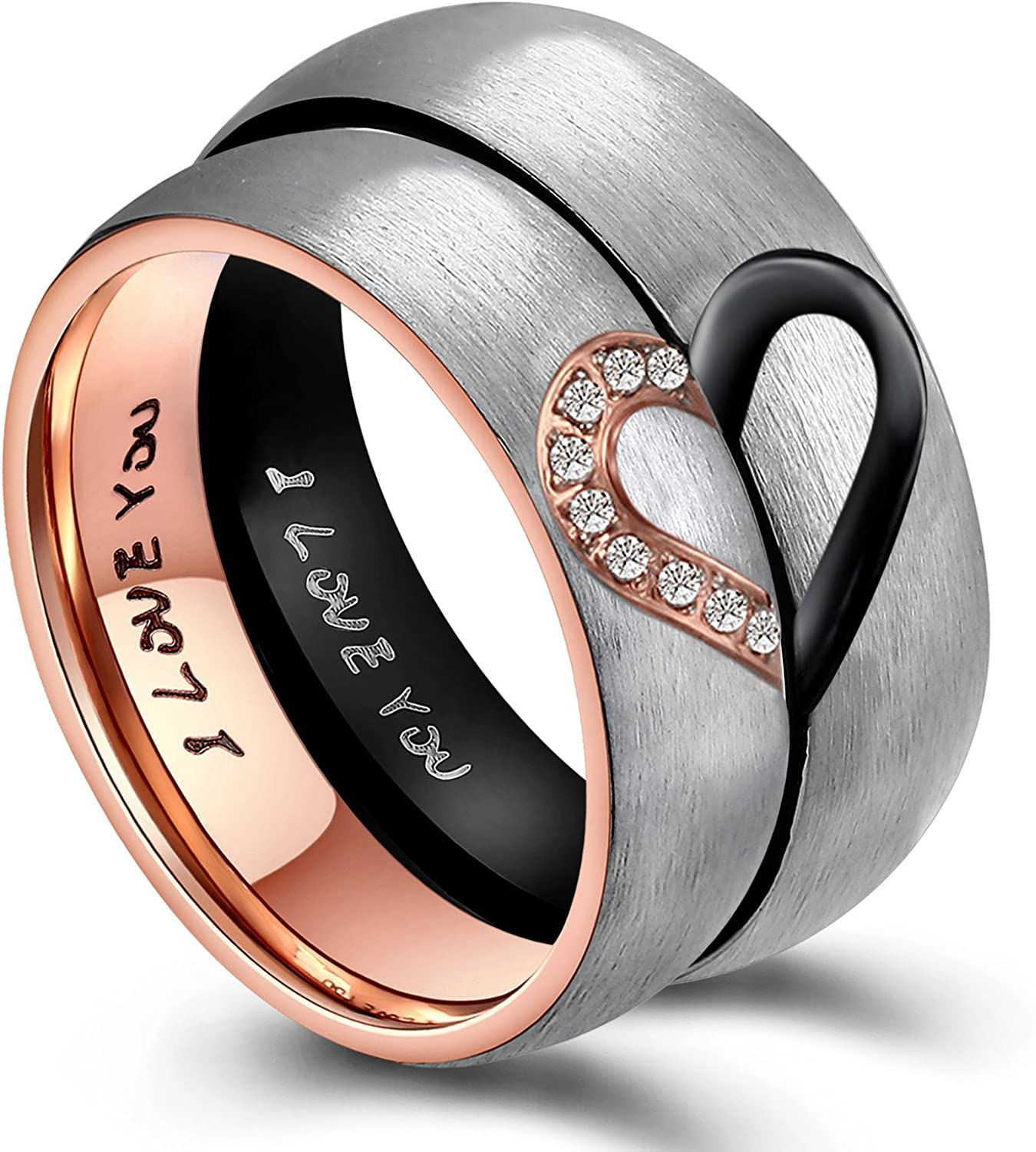 ANAZOZ His & Hers Real Love Heart Promise Ring Stainless...