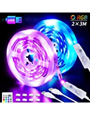 LED Strips Lights, 6M USB LED Lights 2x3M SHINELINE RGB SMD 5050 Color Changing with 24 Key Remote Control Dimmer TV Backlight Mood Light for Home Kitchen Christmas Party Decoration