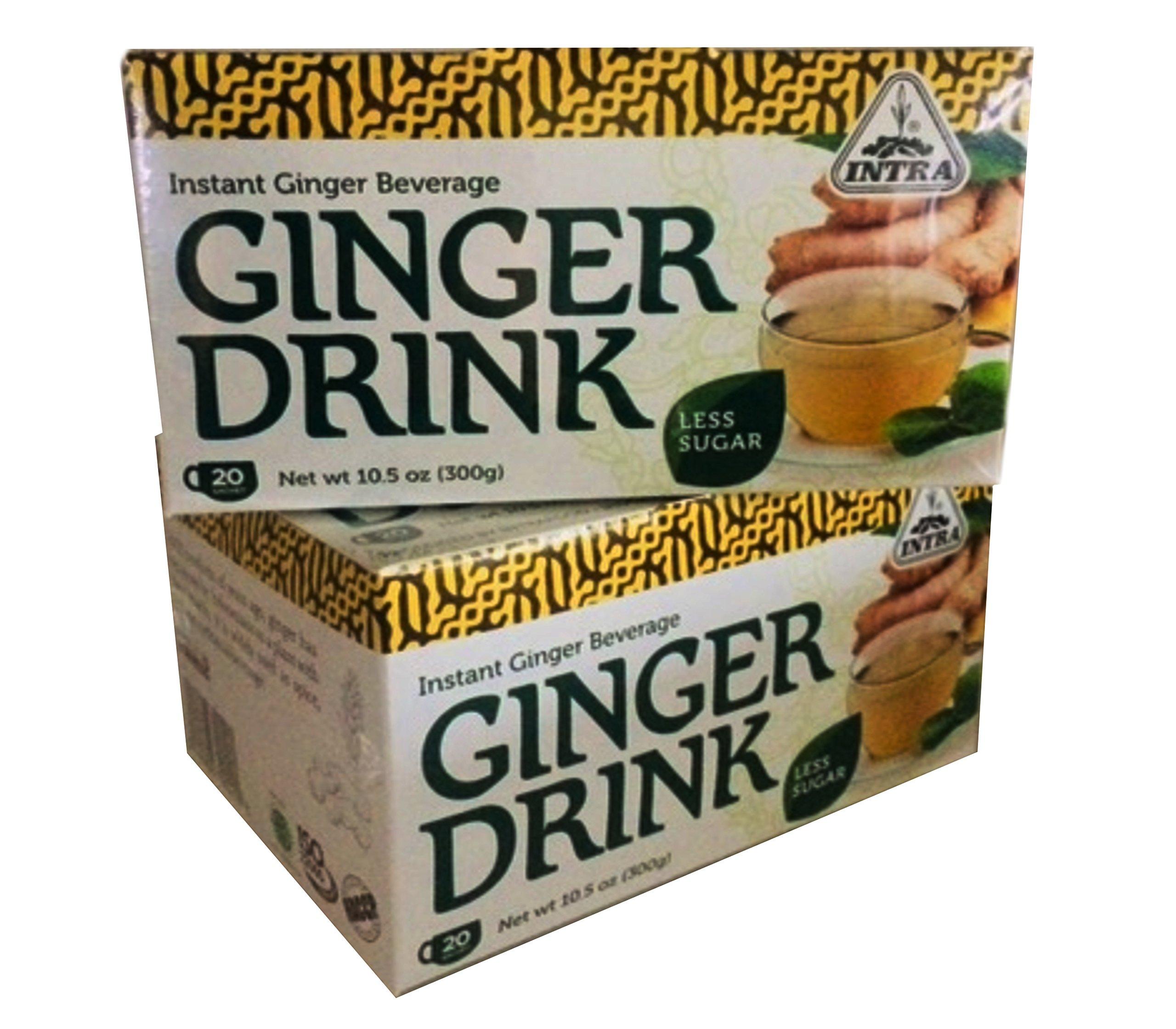 Intra Intant Ginger Drink Less Sugar, 10.5oz, 20-sachet per pack, (Pack of 2)
