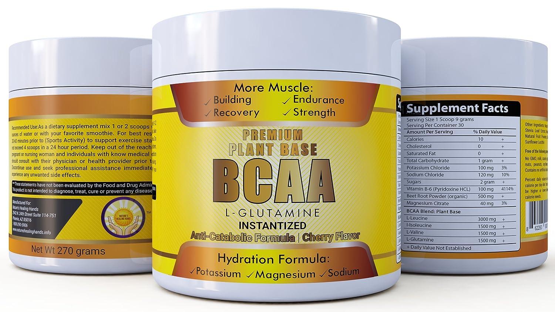 Amazon.com: BCAA Premium Plant Base BCAA With L-Glutamine ...