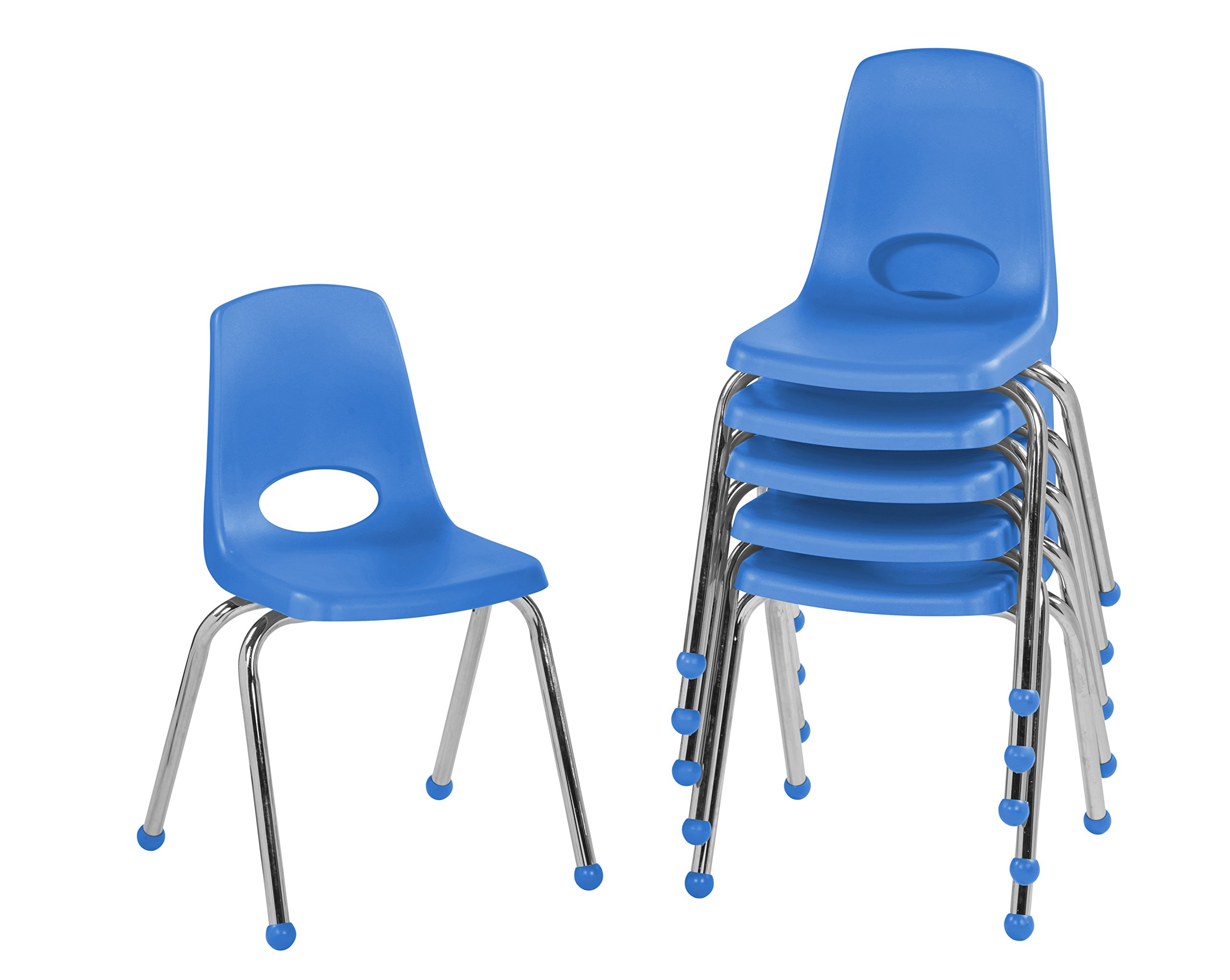 ECR4Kids 16'' School Stack Chair, Chrome Legs with Ball Glides, Blue (6-Pack)