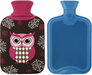 Hot Water Bottle Classic Premium Hot Rubber Bag with Cute Soft Knit Cover (Knitted Fabric Owl 2)